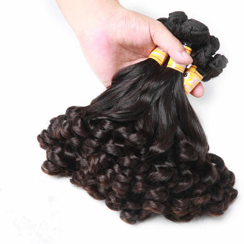 "Mayflower Double drawn Funmi Hair Spring curl 1/2/3/4 bundles mixed length 8-18"" Natural black Remy hair full end no tangle"