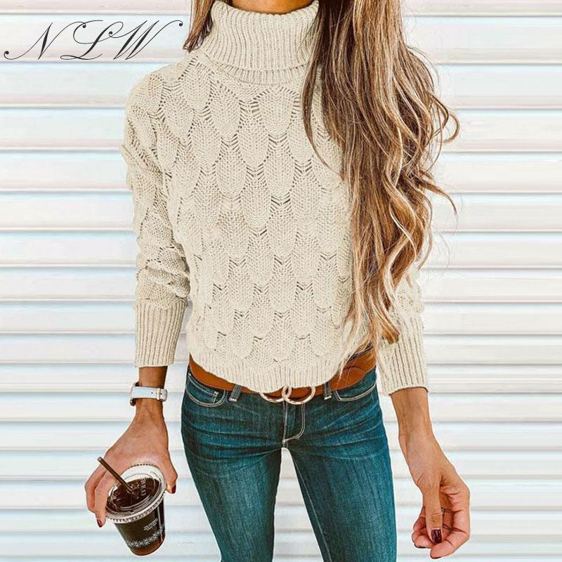 NLW Turtleneck Women Long Sleeve Sweater 2019 Autumn Solid Plus Size Jumper Vintage Hollow Out 3 Colors Winter Pullover Femme
