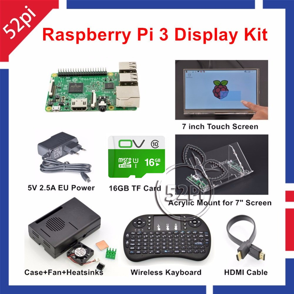 52Pi Raspberry Pi 3 Starter Kit with 7'' Touch Screen+Acrylic Mount+Heat Sinks+16GB SD Card+Case+Fan+5V 2.5A US/EU/UK/AU Power raspberry pi zero v1 3 development kit package e with 2 13inch e paper hat 16gb micro sd card and other basic components