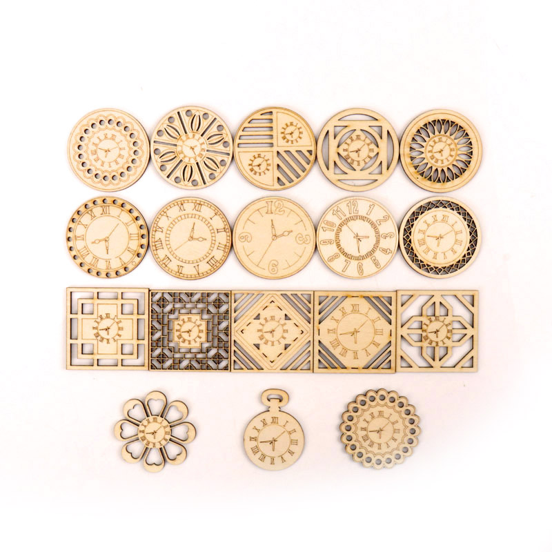 Chinese Style Retro Clock Wooden Pattern Round Square Scrapbooking Craft Handmade Accessory Sewing Home Decor DIY 5-18pcs 45mm
