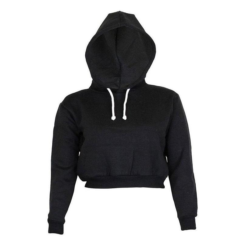 Fashion Women Sweatshirt 19 Hot Sale Hoodies Solid Crop Hoodie Long Sleeve Jumper Hooded Pullover Coat Casual Sweatshirt Top 4