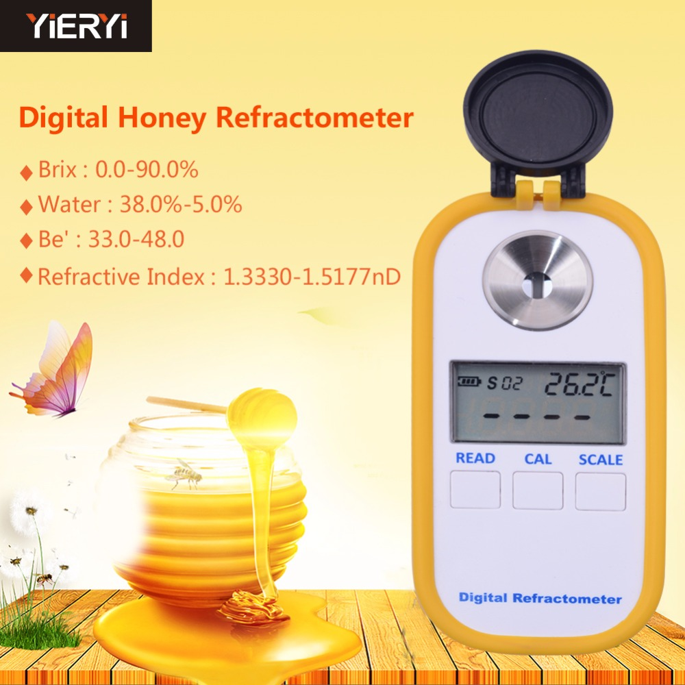 yieryi DR301 Digital Honey Refractometer 4 in 1 Brix/Water/Be'/Refractive Index рефрактометр grand index 1 000 1 120 0 32% brix rsg 100atc brix rsg 100atc