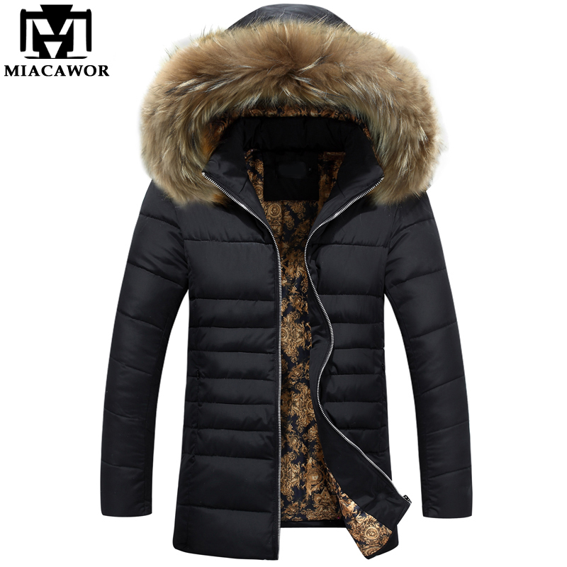 Aliexpress.com : Buy MIACAWOR New Men Parka Fur Collar Warm Winter ...