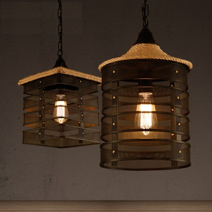 Loft Style Wire Mesh Droplight Iron Rope Vintage Pendant Light Fixtures For Dining Room Bar Edison Hanging Lamp Home Lighting sparta 300 warrior paragraph wire mesh tactical mask wire mesh mask