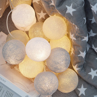 LAIDEYI 2M 20 LED Cotton Ball String Lights Battery Powered Outdoor Lighting For Christmas Party Luminaria