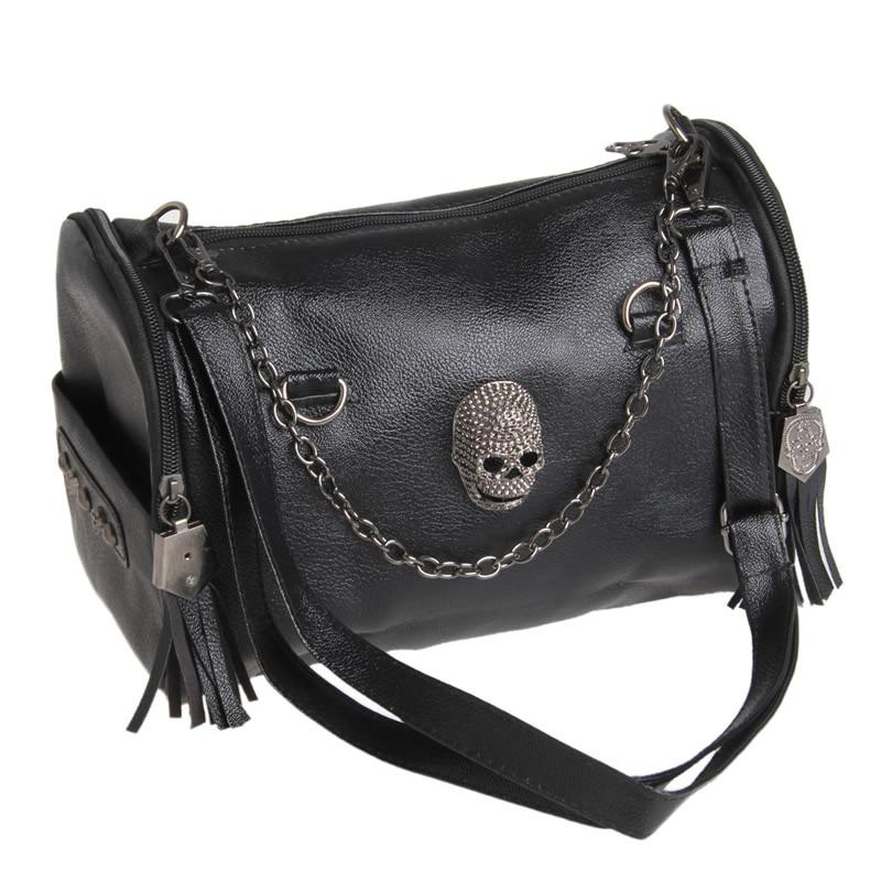 2018 New Fashion Women Lady Faux Leather Skull Rivet Handbag Crossbody Shoulder Satchel Chain Bag Purse