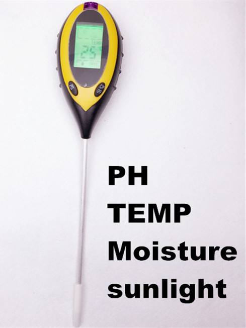 LCD Display 4 In1 Plant Flowers Soil Survey Instrument PH Meter Temperature Moisture Sunlight Tester For Agriculture mc 7806 digital moisture analyzer price with pin type cotton paper building tobacco moisture meter