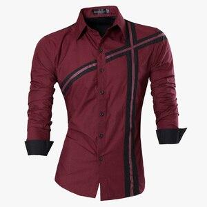 Image 5 - Мужская джинсовая рубашка, повседневная приталенная рубашка с длинным рукавом, весна осень, Z006