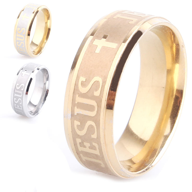 8mm Engraved Jesus cross 3 colors 316L Stainless Steel finger rings for men women wholesale jewelry