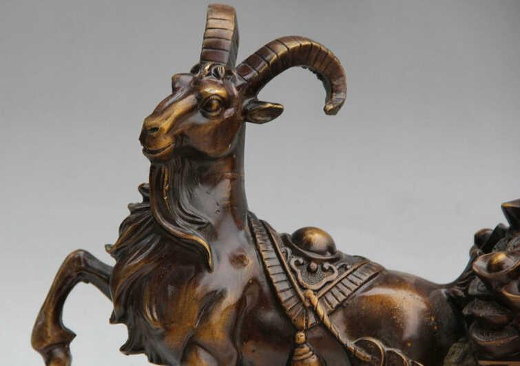 """Sưu tập bronze S2155 15 """"Của Trung Quốc Đồng Wealth Zodiac Năm Cừu Dê kéo xe Tượng điêu khắc B0403"""