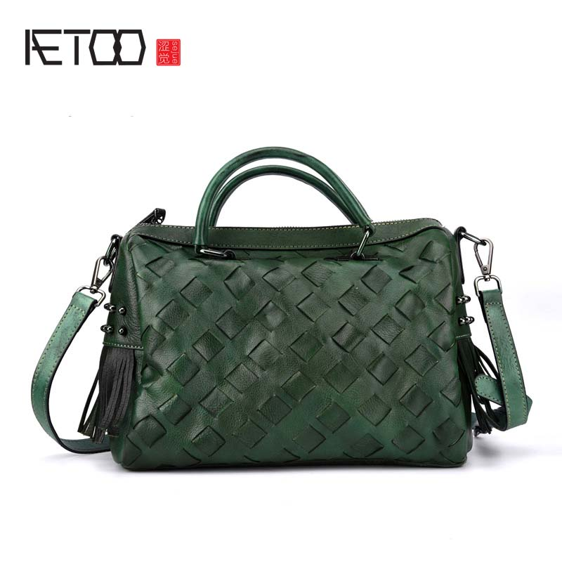 AETOO The new first layer of leather retro style weaving fashion personality hand-colored handbag trend solid original women bag aetoo the original design of the first layer of leather bag retro trend s casual leather shoulder bag messenger bag handbag