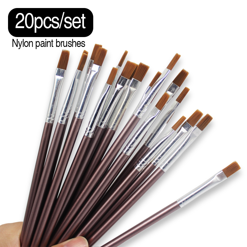 Memory 20Pcs Set Same Size Small Fine Nylon Hair Paint Brushes Set For Acrylic Oil Painting Brushes Drawing Art Supplies