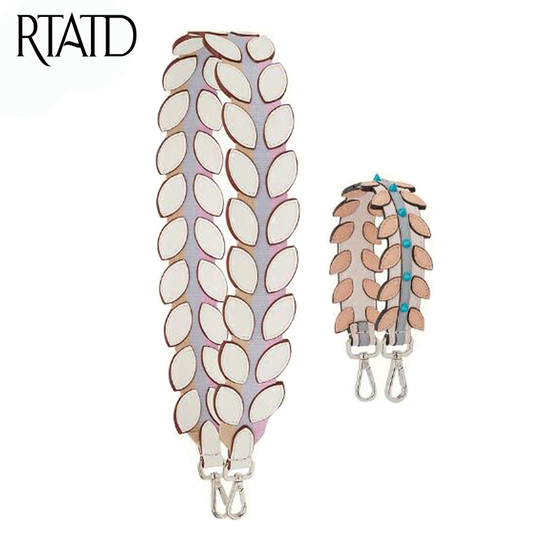 RTATD Leather Leaf Shape Shoulder Strap For Bags Purses Belts Rivet Petal Strap Belt For Women Handbag Accessoires J010