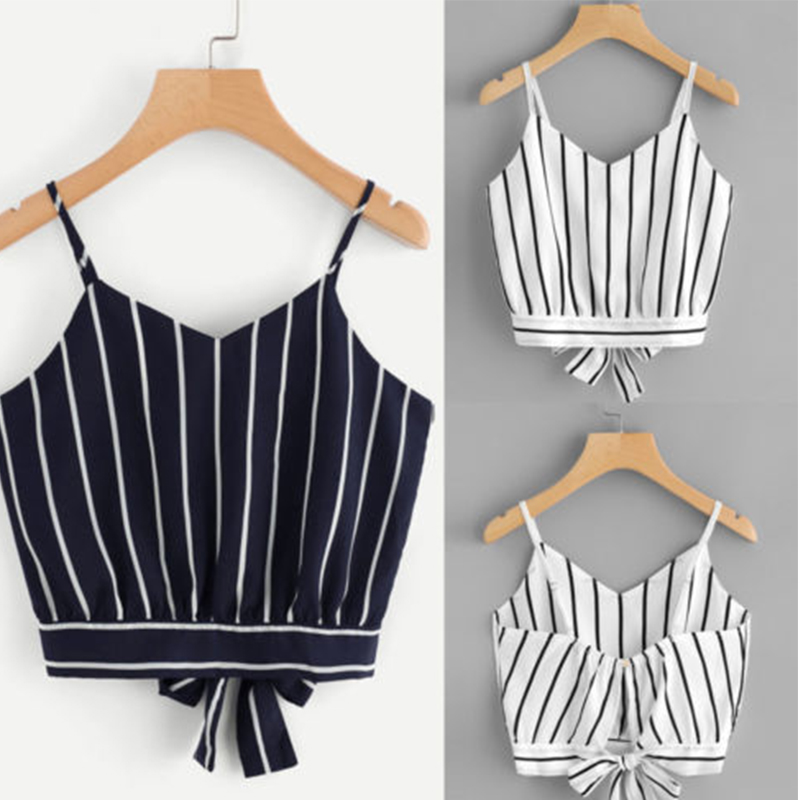 Women Summer Crop Tops Sexy Boho Tank Top Regata Feminina Top Cropped Black and White Stripes Color