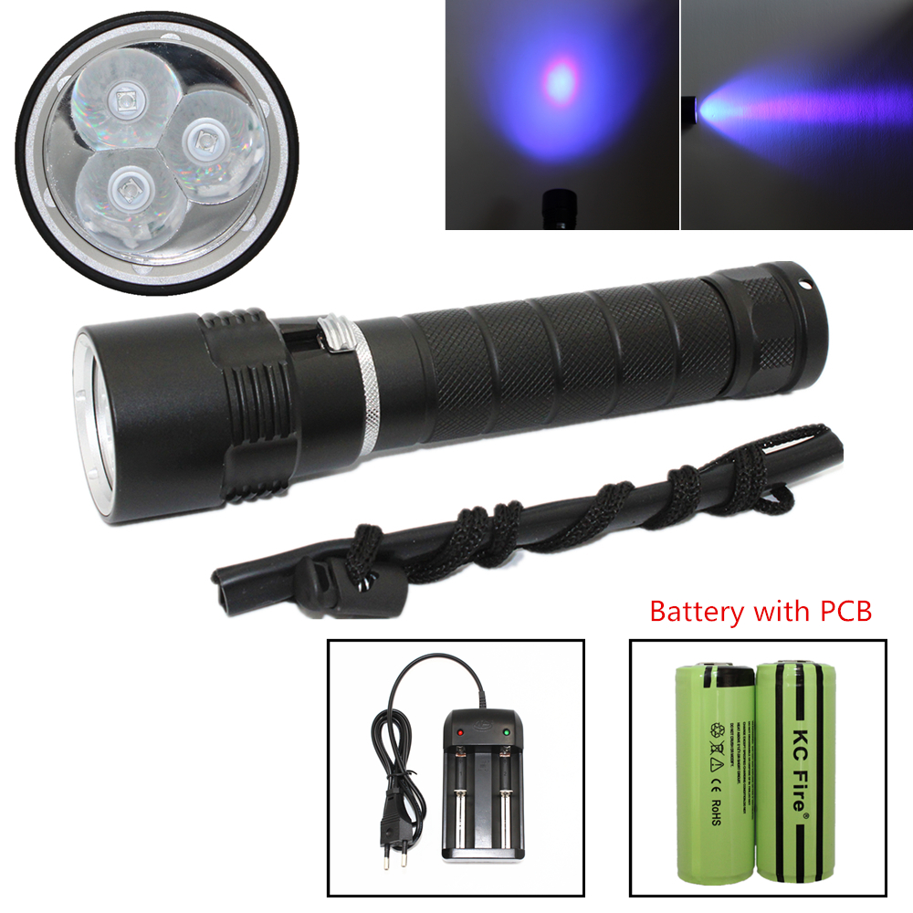 Waterproof Ultraviolet Diving Light 3x UV LED Lamp Diving Flashlight Scuba Torch Dive lanterna + PCB 26650 Battery + EU Charger waterproof diving flashlight scuba light dive torch 5x cree xm l2 led underwater flashlight lanterna 26650 battery charger