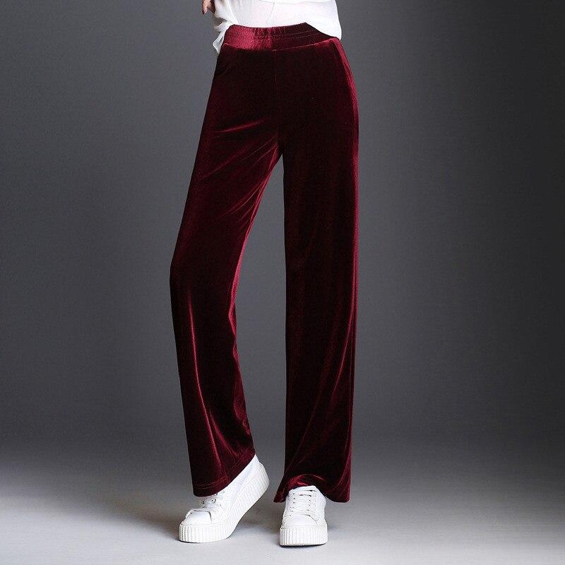 Plu Size 5XL Gold Velvet   Wide     Leg     Pants   Trousers Women Autumn Winter Fashion Elegant Elastic Waist Long   Pants   Sweatpants C3982