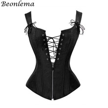 BEONLEMA Black Goth Faux Leather Corset Lace Up Top Sexy Bustier Deep V Neck Bustino Waist Trainer Espartilhos Corsets Mujer