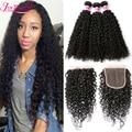 Brazilian Virgin Hair With Closure Kinky Curly Hair Weaves 3 Bundles With Closure Brazilian Curly Hair With Closure Soft Curly