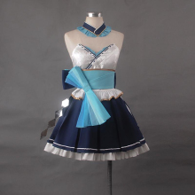 Cospaly Costume Strapless Gown  Dress Vocaloid Blue Miku Mercy Dacing Skirt