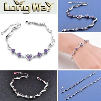 SZELAM, pulsera de cadena de cristal y plata con corazón, Pulseras ajustables para Mujer, nuevas 2019, Pulseras para Mujer