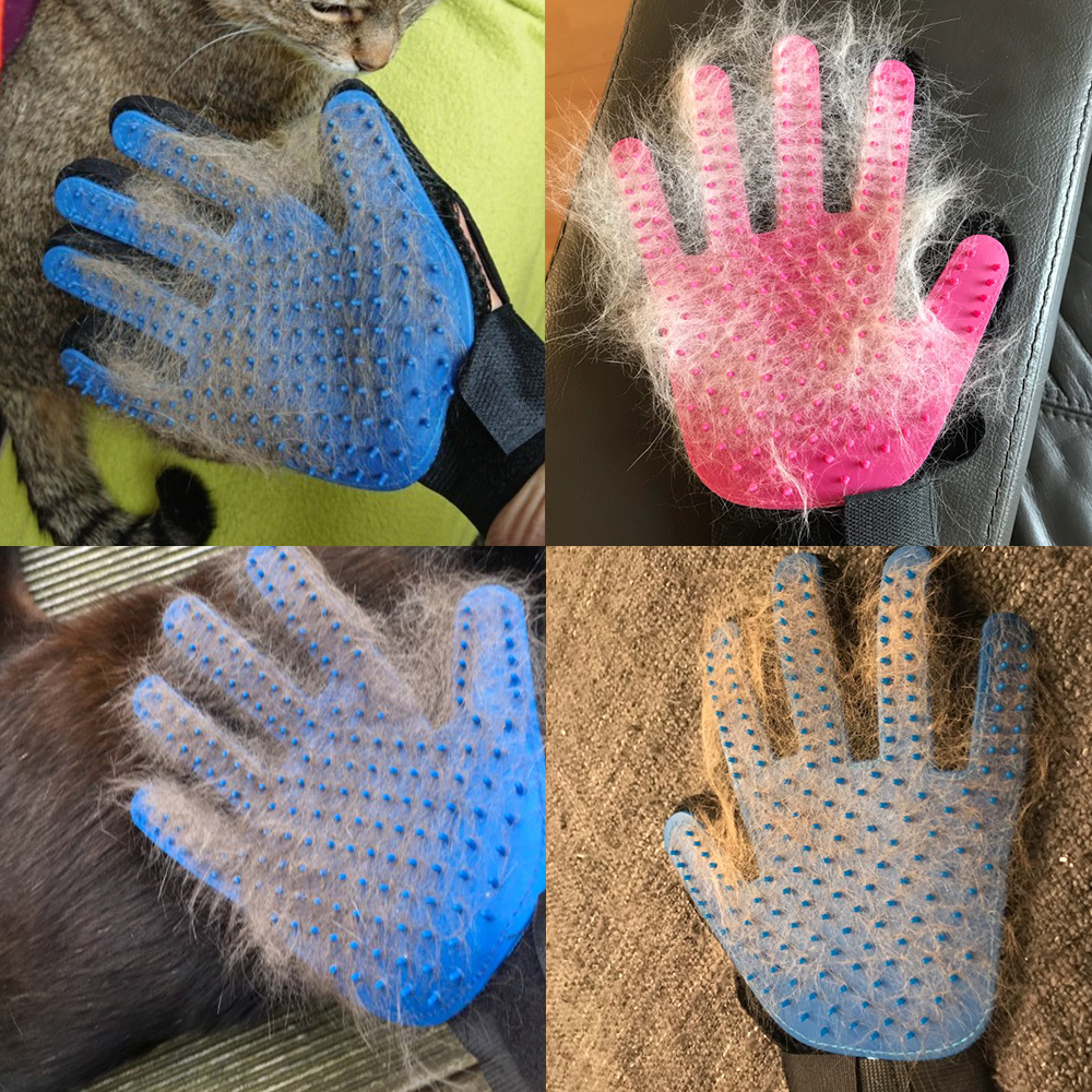 Silicone Brush + Deshedding & Efficient Pet Grooming Glove 11