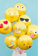 10pcs/lot new round Lovely smile QQ Expression aluminum foil balloons children toys wedding decoration ballons 45*45cm