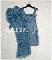 Высокое качество Новое поступление осень голубое платье Для женщин сексуальная Slash шеи Draped Sheath dress шелковой сетки Прозрачный купальник плат