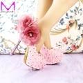 2016 ручной розовый кружевной свадебные туфли женщины туфли на высоком каблуке свадебное платье обувь ну вечеринку обувь красивая аппликация невесты обувь