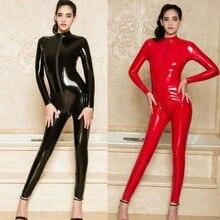 1724f056e6 Wetlook PVC Catsuit Zip Open Crotch Long Sleeve Bodysuit Rompers Womens  Jumpsuit Set Body Mujer Hot Sexy Black Bodysuits Teddies
