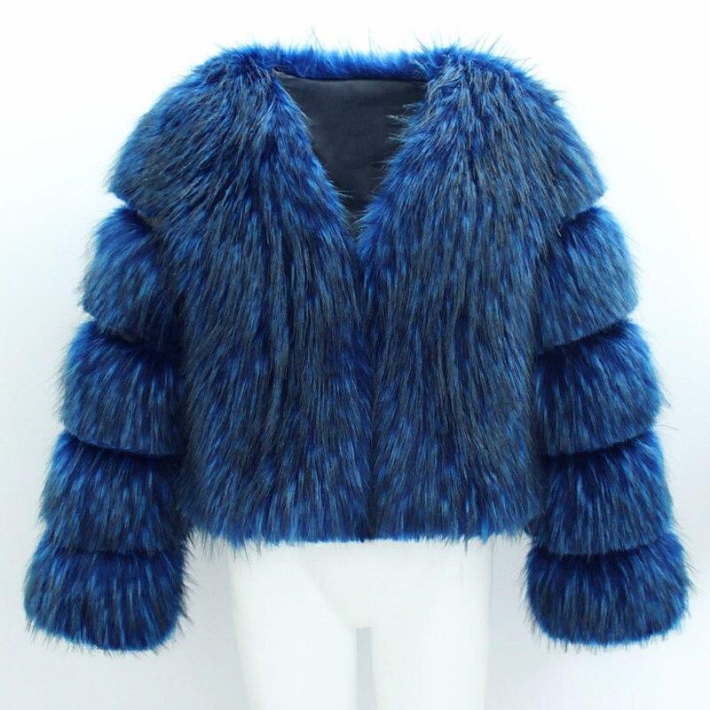 Veste Manches Épaissir Belle Femmes Mode Winte La 2x Fourrure Bleu Survêtement Plus À Longues Faux Taille T1748 noir Manteau De Poilu Chaud Casual PxpwrP6q