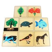 Brinquedo do bebê crianças montessori flor/planta/animalspuzzle para crianças de madeira para a educação da primeira infância pré-escolar formação aprendizagem