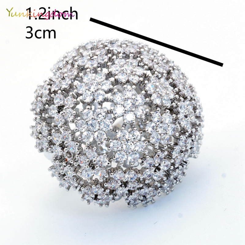 Yunkingdom Banquet Party Queen Wedding Fine Rings for Women and Ladies Full Inlay Cubic Zirconia Fashion Jewelry