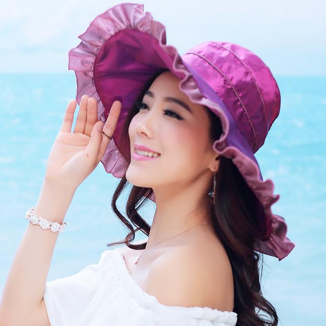 Mujer de Verano UV Sombrero de Visera Señora Coreana Del Verano Tapa de Protección Solar de Las Mujeres de Playa Plegable Sombrero de Ala Ancha Playa B-4862