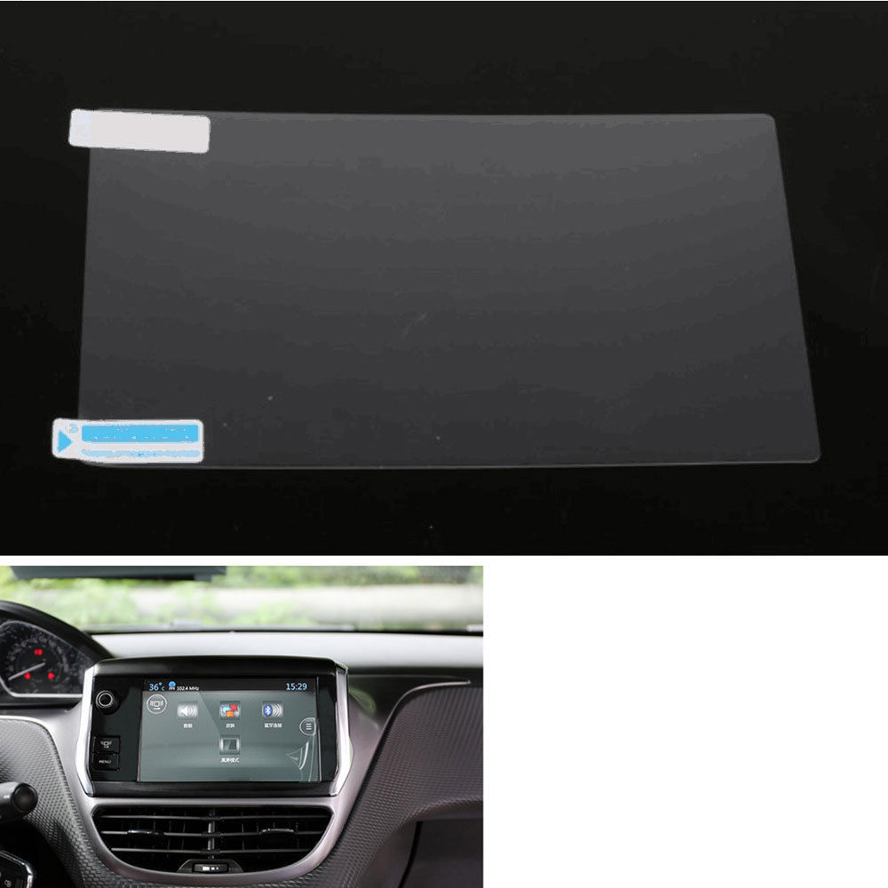 BBQ@FUKA 7'' DVD GPS Radio Navigation Tempered Glass Film Sticker For Peugeot 408 2012-2013 car interior decals car stickers bbq fuka rear trunk shade cargo cover fit for 2011 2013 ford edge black