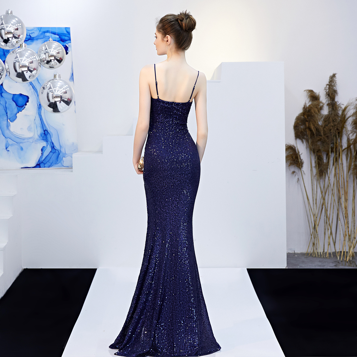 Navy Blue Spaghetti Straps Sequin Evening Prom Dress