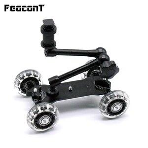 "Image 1 - Mobiele Rolling Sliding Dolly Stabilizer Skater Slider 11 ""Scharnierende Magic Arm Camera Rail Stand Fotografie Auto Voor Gopro 7 6"