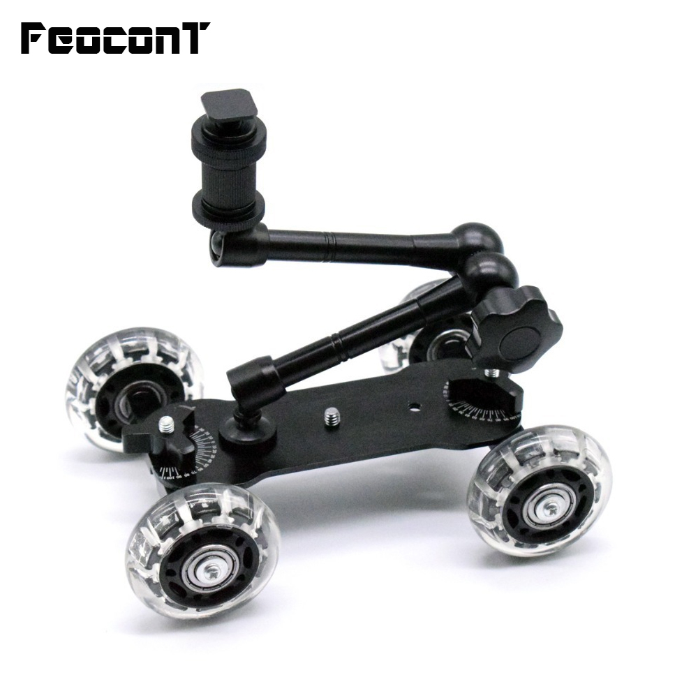 "Mobile Rolling Sliding Dolly Stabilizer Skater Slider 11 ""Articulating Magic Arm Kamera Rail Stand Fotograf Bil For GoPro 7 6"