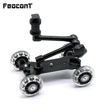 "Mobile Rolling Sliding Dolly Stabilizer Skater Slider 11""Articulating Magic Arm Camera Rail Stand Photography Car For GoPro 7 6"