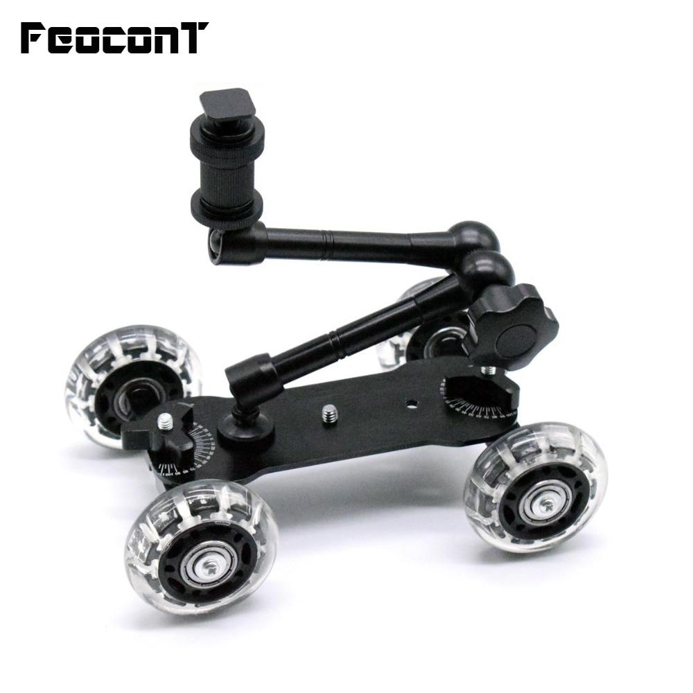 Mobile Rolling Sliding Dolly Stabilizer Skater Slider +11 Articulating Magic Arm Camera Stand Photography Car For GoPro 7 6 5 4
