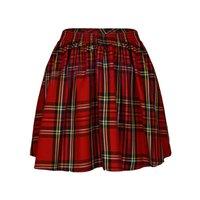 Summer Fashion Lattice Skirts Women Plus Size Mini High Waist Red Black Plaid Skirt