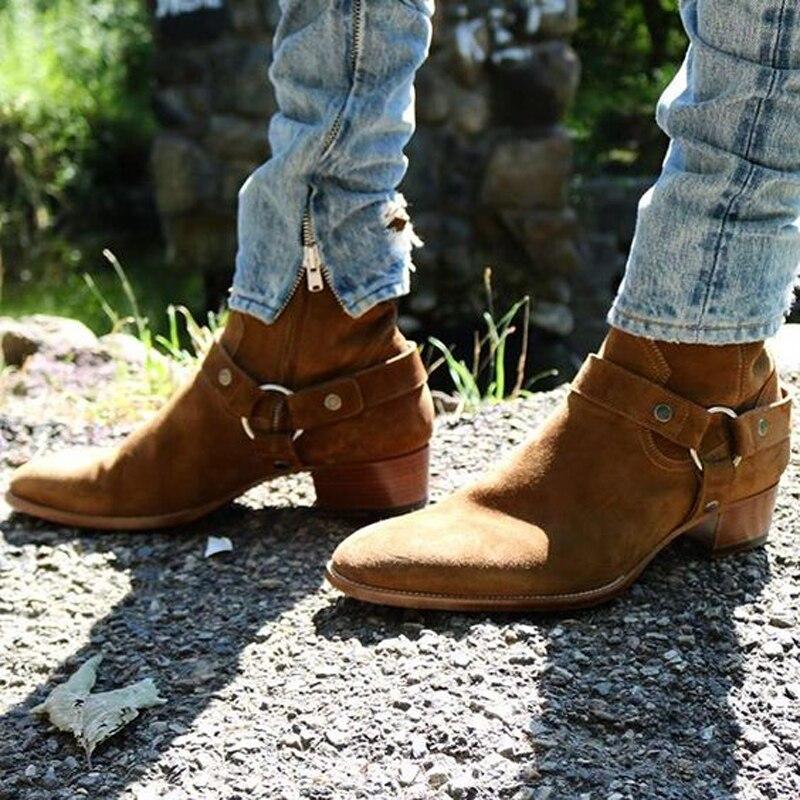 Wyatt новинка хит продаж байкерские мужские ботинки с цепями замшевые ботильоны с плоским наборным каблуком мужские модные ботинки с боковой