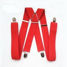 BD054-L XL size Adult suspender 3.5 width 4 clips on women brace adjustable elastic X back pants suspender for men red color