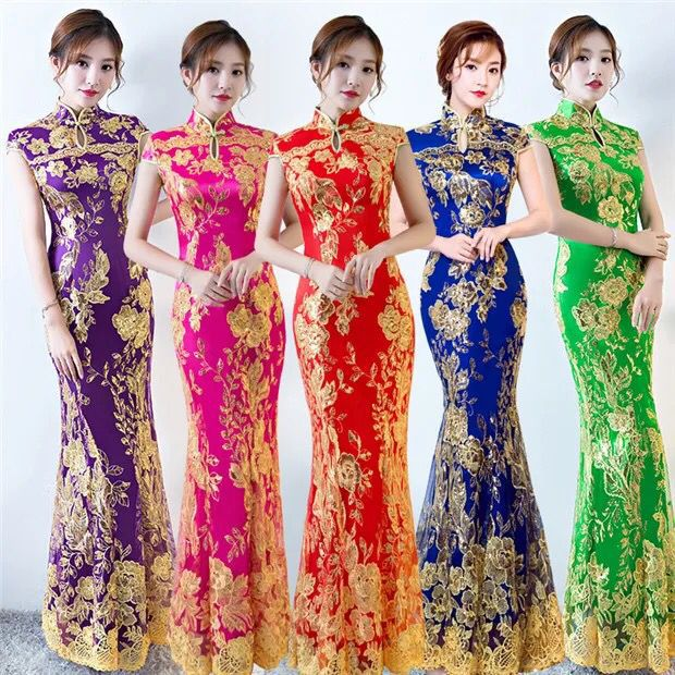 New Lace Embroidered Chinese Traditional Dress Women Sequins Long Fishtail Cheongsam Vintage Oriental Long Qipao Evening