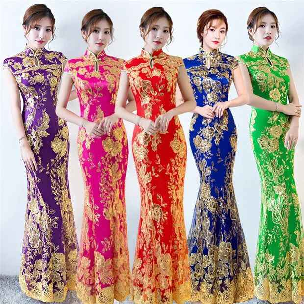 New Lace Embroidered Chinese Traditional Dress Women Sequins Long Fishtail Cheongsam Vintage Oriental Long Qipao Evening Dresses