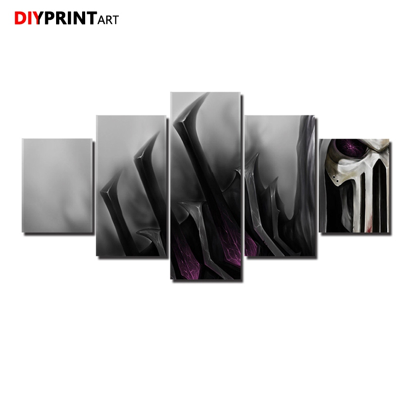 Skull Hood 5 Panels Large Wall Art Canvas Home Decoration A1068