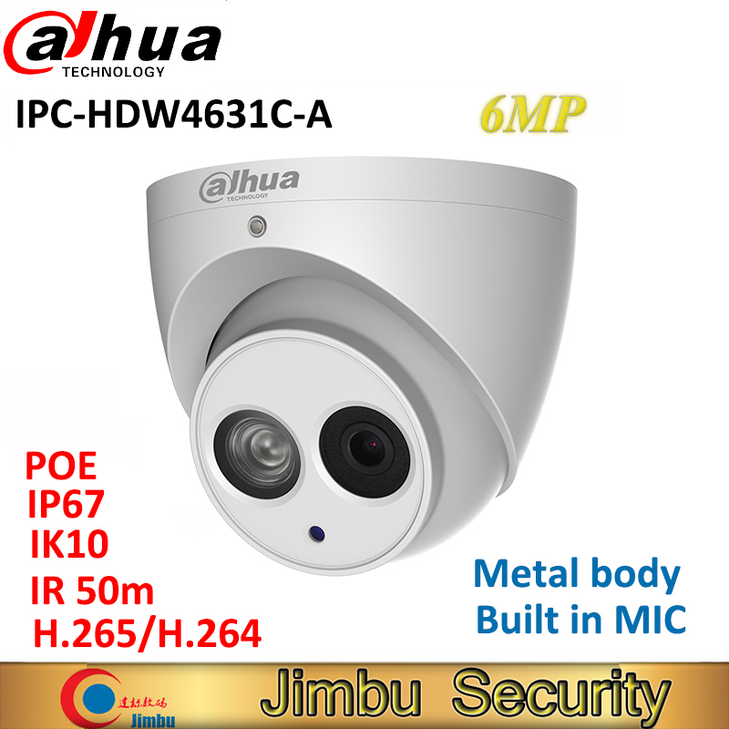 Dahua IP Camera 6MP IPC-HDW4631C-A full metal body H.265 Built-in MIC IR50m IP67 IK10 CCTV Dome security Camera HDW4631C-A