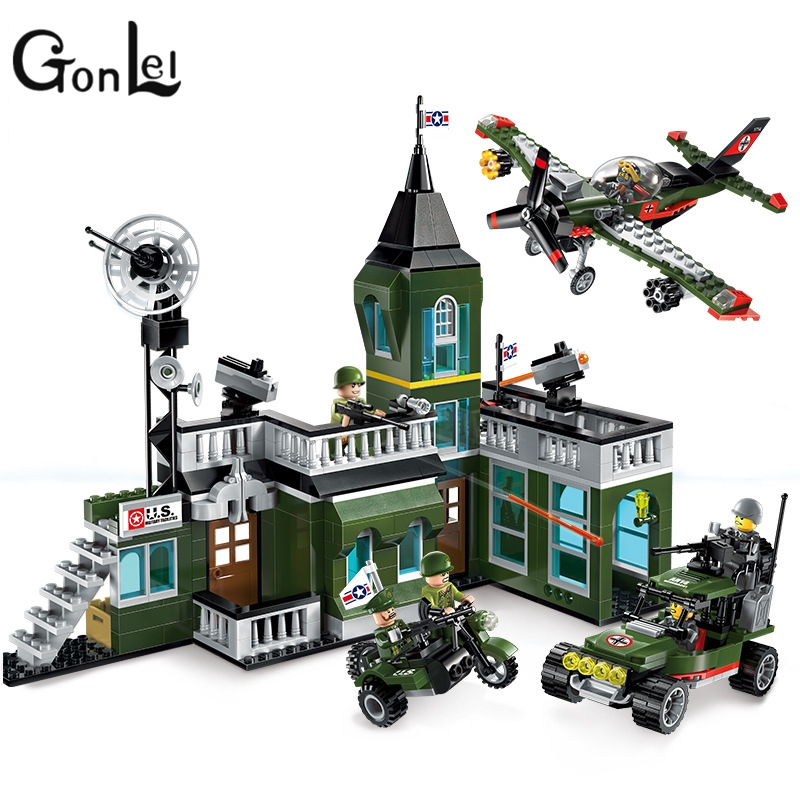 GonLeI Enlighten Military Series Combat Zone Bomb Headquarters Building Block Compatible With Lepin Bricks Kids Toys Gifts