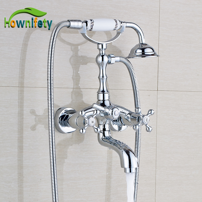 Solid Brass Chrome Polished Bathtub Faucet Double Handle Mixer Tap with Hand Sprayer Wall Mount