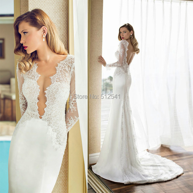 Deep V Neck Wedding Dresses Lace Mermaid Trumpet Lique Long Sleeves Beads Pearls Backless Sweep Train