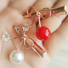 M MISM Korean Style Children Girl Bow-knot Hairpins Headwear Fruit Cherry Hairgrip With Rhinestone Barrettes Hair Accessories